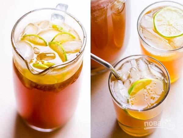Холодный чай с лаймом и лимоном
