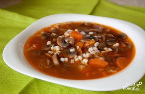 Грибной суп с перловкой