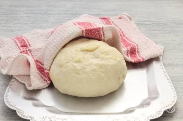 Из теста сделайте колобок. Оставьте его при комнатной температуре под полотенцем на 30-60 минут.
