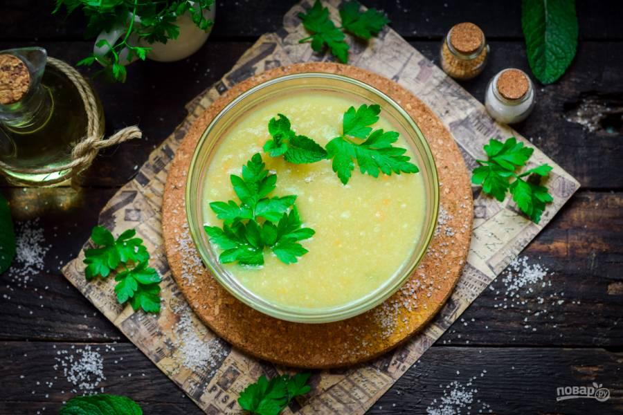 Суп пюре из кабачков и курицы
