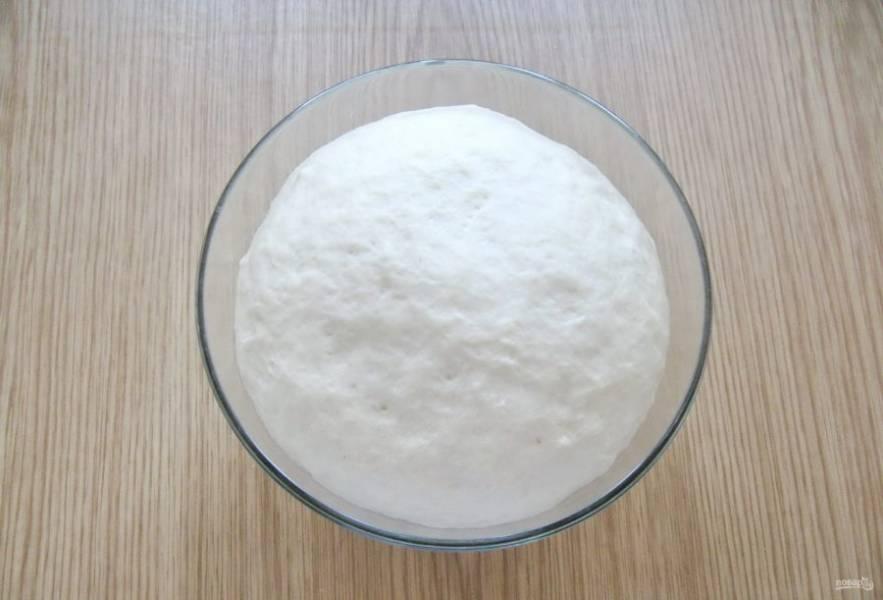 Поставьте тесто в теплое место на 50-60 минут, предварительно накрыв его полотенцем или пищевой пленкой. Когда оно значительно увеличится в объеме, можно приступать к работе.