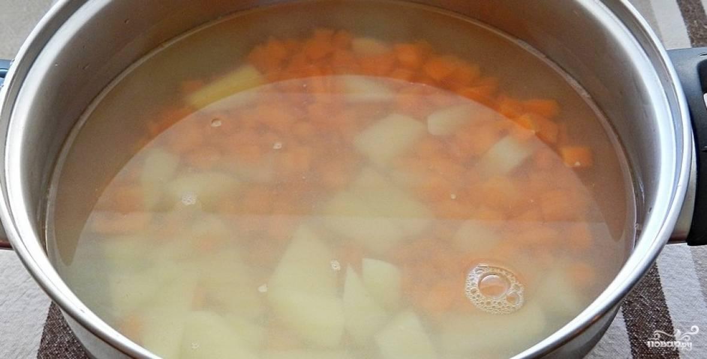2. Теперь вынимаем из бульона лук, рыбу и морковку. Морковку и рыбу потом можно вернуть в суп. А лук нам больше не нужен. Складываем в бульон очищенный и нарезанный брусочками картофель, а также морковку. Варим 10 минут, добавим специи и соль.