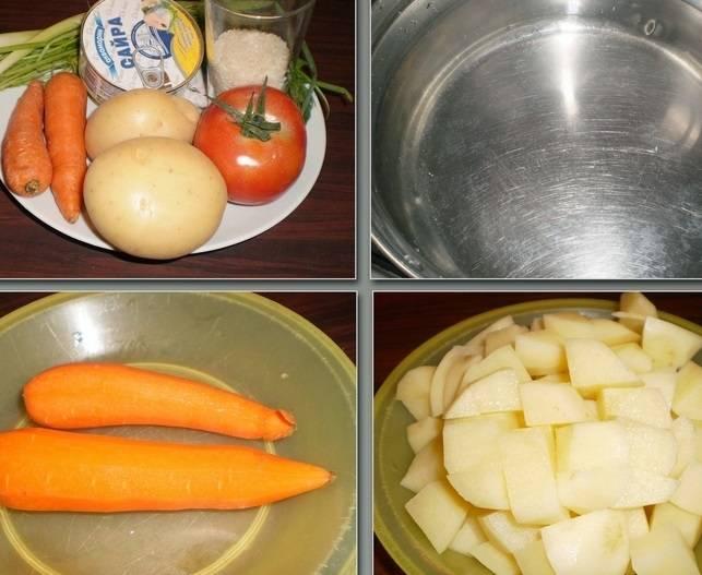 Налейте в кастрюлю воды и поставьте ее греться. Тем временем промойте и очистите картофель и морковь. Картофель нарежьте кубиками.