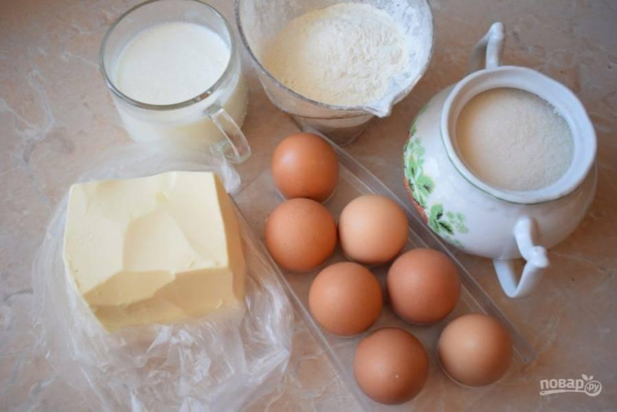 Для приготовления пирожных подготовьте все необходимые ингредиенты.