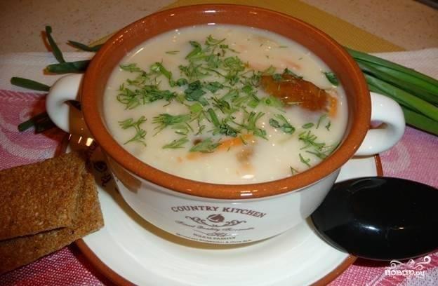 Суп из белых грибов с сыром
