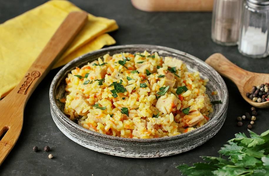 Рис с копченой курицей