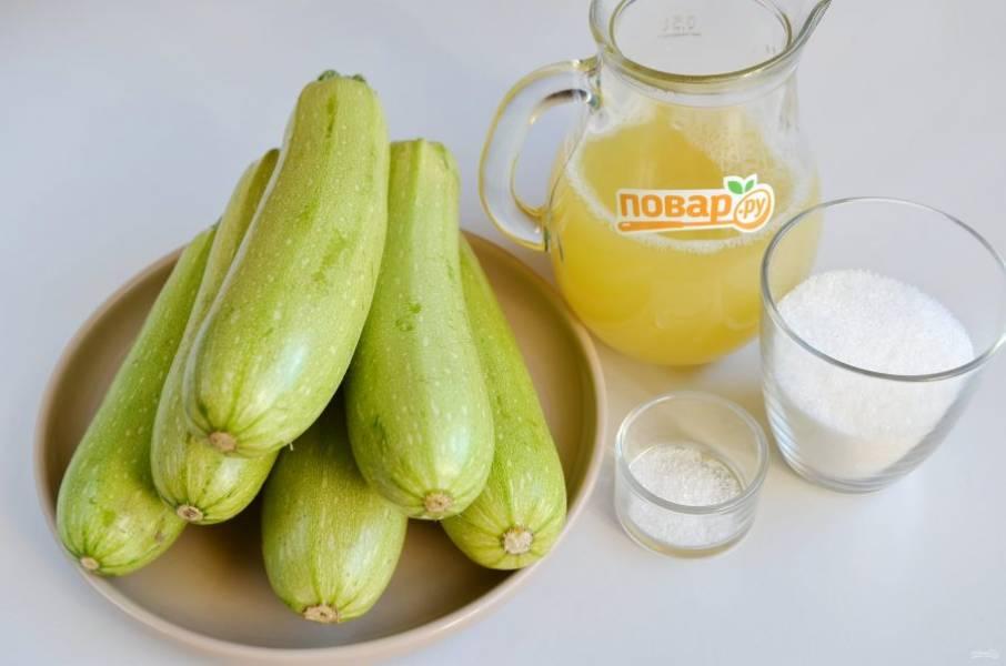 1. Подготовьте кабачки, ананасовый сок, сахар, лимонную кислоту. Приступим!