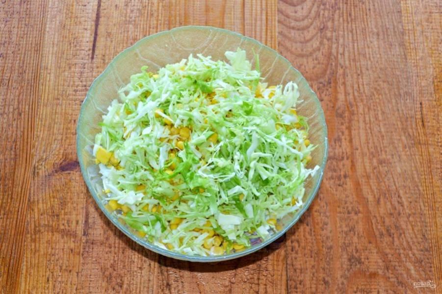 Добавьте мелко нашинкованную капусту.