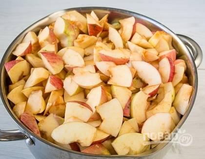Яблоки моем, удаляем у них сердцевину, а сам плод нарезаем так, как вам удобно. Перекладываем в большую кастрюлю и добавляем 200 граммов сахара. Пусть немного постоят, пустят сок.