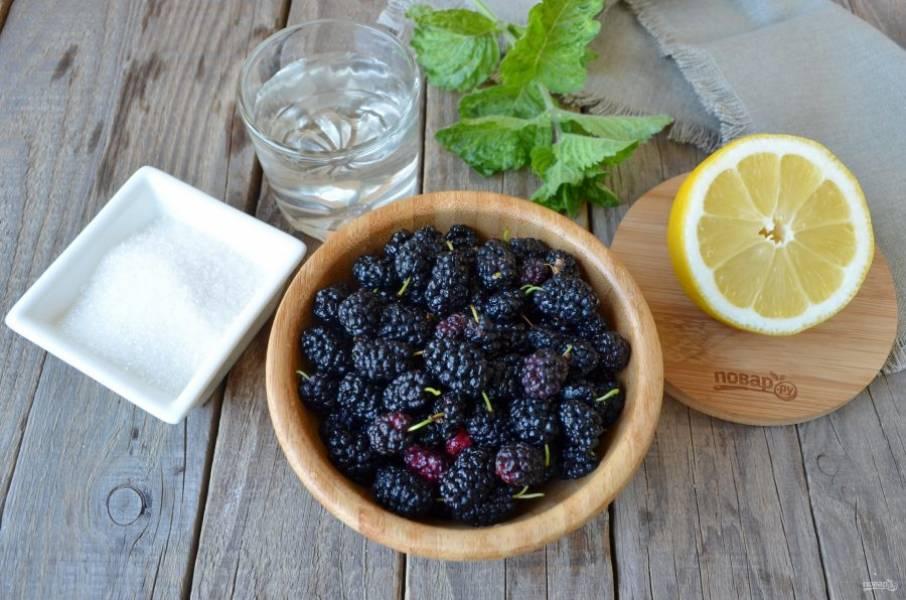 Подготовьте воду фильтрованную или родниковую, сахар, шелковицу и лимон. Приступим!