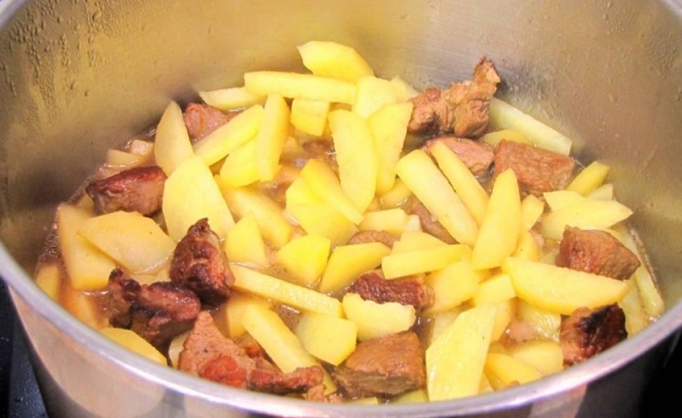 Перемешиваем мясо и картофель и доводим жидкость до кипения. Накрываем кастрюлю крышкой и ставим ее в разогретую до 180 градусов духовку на час, за это время содержимое кастрюли следует пару раз помешать.