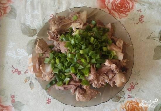 2. Сваренное мясо нарежьте небольшими кусочками и посыпьте предварительно посоленным и нарезанным зелёным луком.