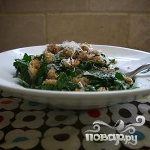 Салат из кале с сыром и хлебом - фото шаг 5