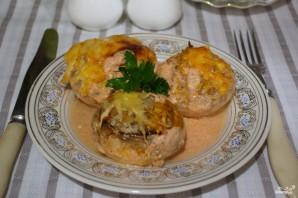 Запеченные грибы с фаршем в духовке - фото шаг 11