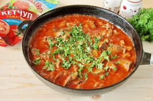 Куриная печень в томатном соусе с кетчупом - фото шаг 8