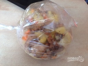 Картофель с грибами в рукаве - фото шаг 7