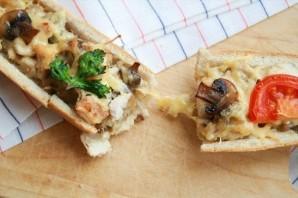 Багет, фаршированный курочкой и грибами - фото шаг 4
