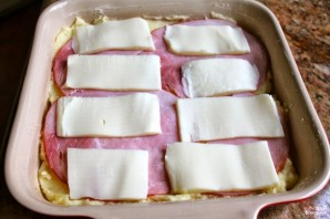 Пирог с моцареллой и ветчиной - фото шаг 7