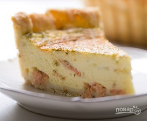 Заливной пирог с лососем - фото шаг 9
