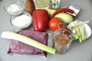 Мильфей с мясом, гречкой и овощами - фото шаг 1