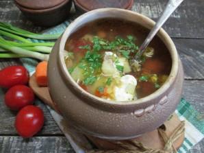 Мясной суп с чечевицей в духовке  - фото шаг 9