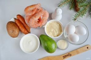 Заливной салат с креветками и авокадо - фото шаг 1