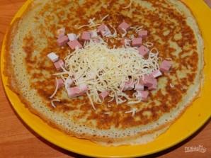 Овсяные блины с сыром и ветчиной - фото шаг 4