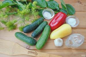 Маринованные огурцы с болгарским перцем на зиму - фото шаг 1