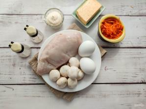Слоеный салат с корейской морковью, курицей и грибами - фото шаг 1