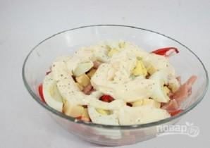 Сырный салат с ветчиной и овощами - фото шаг 7