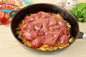 Куриная печень в томатном соусе с кетчупом - фото шаг 4