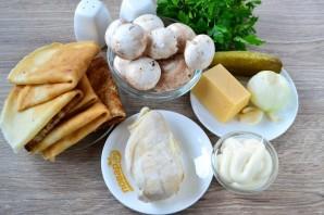 Мясной салат с блинчиками - фото шаг 1