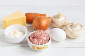 Новогодний рулет с грибами и сыром - фото шаг 1