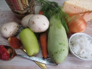 Кабачки с рисом и грибами  - фото шаг 1