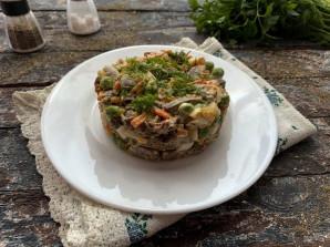 Салат с куриными сердечками и печенью - фото шаг 10
