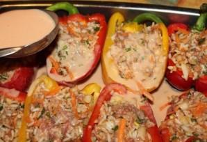 Фаршированные половинки перца в духовке - фото шаг 12