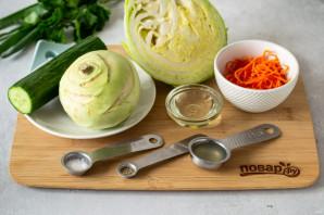 Салат с огурцом и капустой кольраби - фото шаг 1
