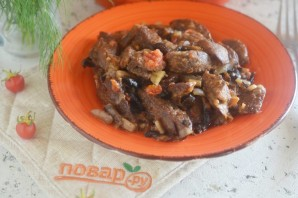 Куриная печень с грибами - фото шаг 10