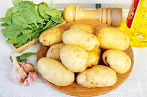 Картофель в рукаве с заправкой из чеснока и шпината - фото шаг 1