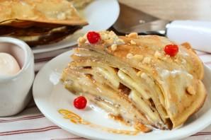 Блинный торт с грецкими орехами и бананами - фото шаг 10