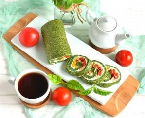 Зеленый рулет с креветками и болгарским перцем - фото шаг 8