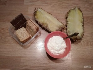 Пирожное без выпечки с ананасом - фото шаг 1