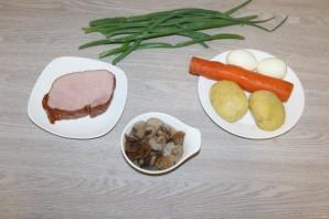 Слоёный салат с ветчиной и грибами - фото шаг 1