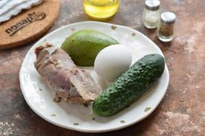 Салат с авокадо и языком - фото шаг 1