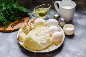 Заливной пирог с капустой и грибами - фото шаг 1