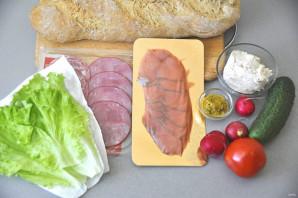 Бутерброды с зеленым салатом - фото шаг 1