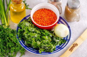 Рагу из чечевицы со шпинатом - фото шаг 1