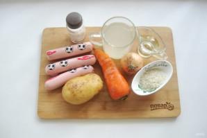 Суп с сосисками и рисом - фото шаг 1