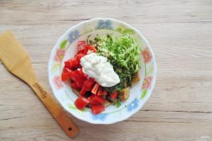 Салат с жареными баклажанами и свежими помидорами - фото шаг 8