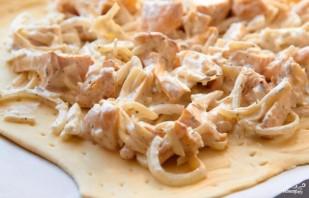 Пирог с грибами, сметаной и сыром - фото шаг 3
